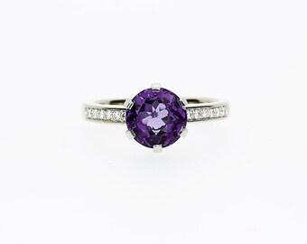 2.00ct, Amethyst ring, Diamond, engagement ring, purple, White gold ring, Amethyst engagement, solitaire, micro pave, diamond engagement