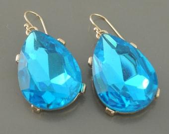 Statement Earrings - Blue Earrings - Gold Earrings - Rhinestone Earrings - Teardrop Earrings - Bridesmaid Earrings - Handmade Jewelry