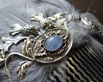 Rustic hair piece | silver flower | art nouveau hair comb | scottish thistle | something blue
