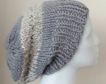 Chunky knit gray and oatneal slouchy beanie , chunky knit beanie , chunky knit gray and oatmeal hat , chunky sluchy knit beanie hat