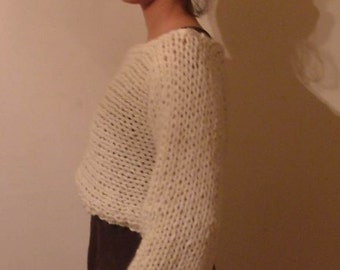 Knitting PATTERN-The White Alpaca Chunky Shrug/Cropped Sweater/Woman