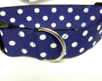 "Dark Blue and White Polka Dots Dog Collar 1.5"" - READY TO SHIP - Only 1 Available at This Price"