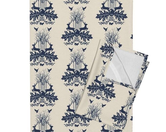 Woodland Crest - Beige and Dark Blue Tea Towel