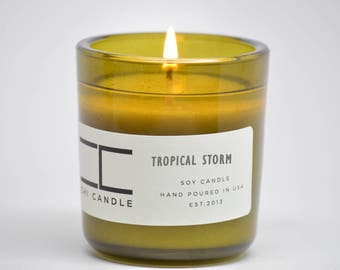 Tropical Storm Soy Candle Vintage Green Glass Scented Soy Candle