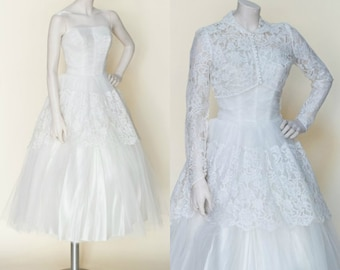 1950s Tea Length Wedding Dress --- Vintage Lace Strapless Dress