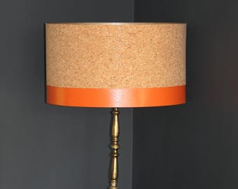 Cork lampshade etsy handmade cork drum lampshade with hand painted detail in choice of colours aloadofball Images