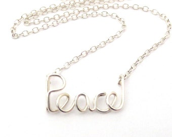 Peace Necklace. Sterling Silver Peace Urban Chic City Necklace. Yoga Inspired Peace Necklace. Custom Wire Word Necklace. Girl Gift Under 50