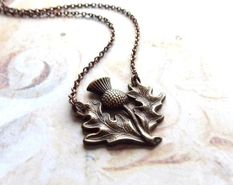 Brave Heart - Antiqued Brass Scottish Thistle Pendant and Copper Chain Handmade Necklace with Gift Box