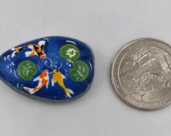 Koi fish pond miniature stone hand painted rock mini Zen home decoration