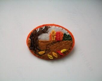 Felt Brooch, Handmade Brooch, Hand Embroidered Brooch