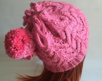 Pink beanie/cowl with drawstring pompom closure