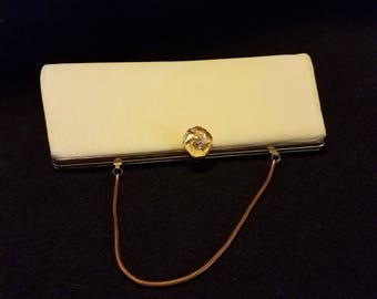 Vintage Mint Green Clutch Purse Gold Closure and chain Handbag