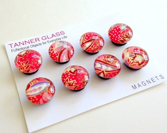 Pink Paisley - choose from Set of 4 or 8 magnets or push pins - colorful vibrant pink Japanese design