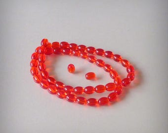 Glass beads oval 30 / red translucent