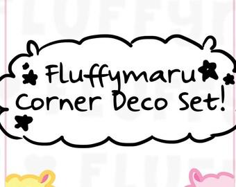 Fluffymaru Corner Deco Sticker Set    Planner Stickers, Cute Stickers for Erin Condren (ECLP), Filofax, Kikki K, Etc.    CS05