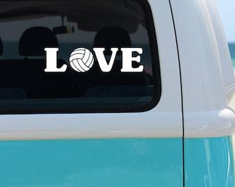 Volleyball Love Vinyl Window Decal - Car Sticker - Sports Decal - Car Decal - Volleyball - Volleyball Decal - Sports Sticker - Vinyl Decal