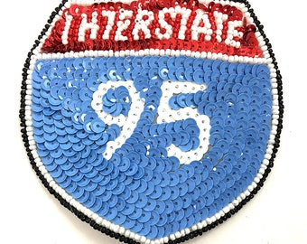 """Interstate 95, Light Blue, Red, White and Black Sequin Beaded, 4""""  -55656-B342"""