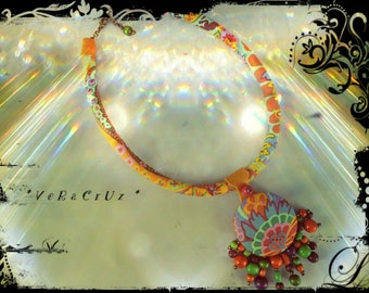 Necklace VERACRUZ - crewneck fabric multicolored predominantly orange and yellow - orange leather - wood beads and metal