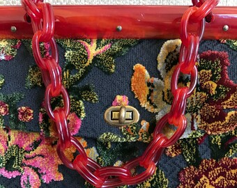 RESERVED for James 60s Kadin Tapestry Carpet Bag Purse Lucite Links Envelope Flap Plush Carved Velvet Floral Fabric Gorgeous Arm Candy