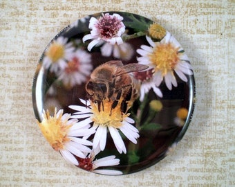 Large Bee Keeper Pin, Magnet or Pocket Mirror, 2.25'' Inch, Floral Magnet, Bee Club Pin, Bee Lover Gift, Honey Bees, Save the Bees, F