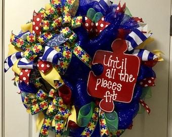 Autism awareness wreath
