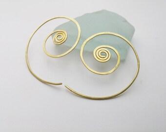 Spiral Hoop Earrings. Everyday Gold Hoops. Tribal Ethnic Wire Earrings. Gypsy Hoops, Large Swirl Earrings. Gifts For Her. Israel Jewelry