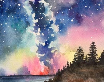 Milky Way sunset forest original Watercolor painting