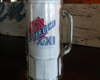 Super Bowl XXI Collectible Vintage Beer Mug // 80s Sports NFL Glass Rose 1987