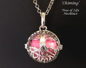 Chiming Tree of Life Necklace 126, Chimes with Movement - Celtic Tree of Life Cage with a Pink Harmony Chime Ball | Harmony Necklace