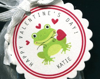 25 Personalized Valentine Favor Tags - Gift Tags - Valentine's Day Tags - Valentine Tags - Red - Frog Holding Red Hearts