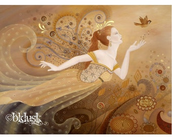 Large Signed Goddess Butterfly Fairy Unique Hand Embellished OOAK Canvas Print B. K . Lusk