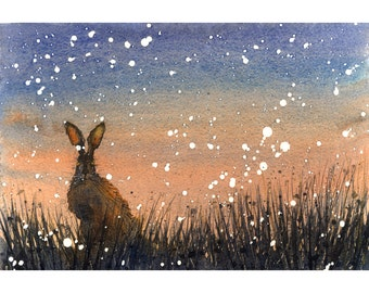 Hare in the Grass, Signed Print of a Watercolour Painting