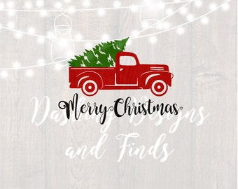 DIGITAL DOWNLOAD Svg Png Merry Christmas Truck Tree Retro Vintage Winter Holiday Silhouette Cricut Cut File