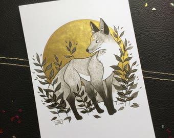 Fox •  Gold Hand Embellished A5 Print • Ink • Watercolour • Original Art • Autumn • Fall