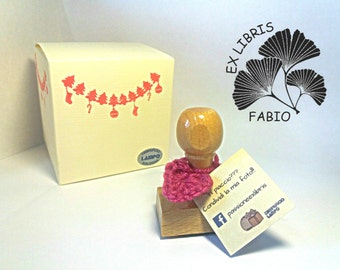 Ex Libris stamp with ginkgo leaf + custom name