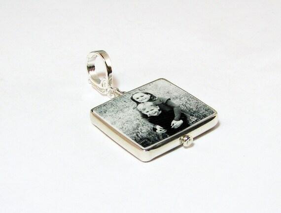 Silver Framed Custom Photo Pendant - Small - FP3Hf