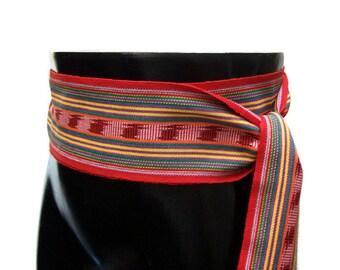 Red Rainbow Belt, SA09 - Ethnic Sash - Ikat Fabric - Woven Sash Belt - Guatemalan Textiles - Red Sash - Reenactment Clothing - Bohemian Belt