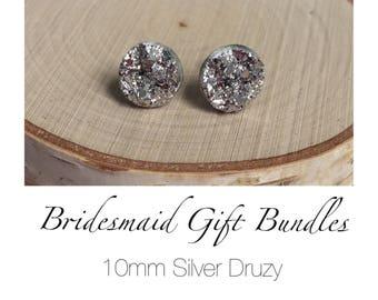Bridesmaid Druzy Earrings - Silver - 10mm