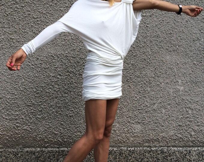 Extravagant Tunic White Little Dress, One Sleeve Maxi Dress, Party Tunic, Asymmetric Cotton Dress by SSDfashion