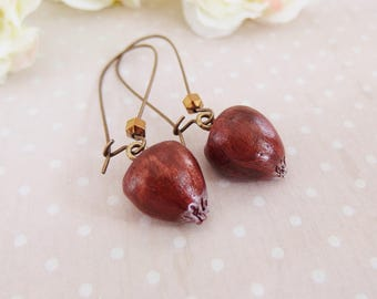 My little chestnut earrings, fall, forest, in the Woods, nature, fruit, polymer clay, chestnut fruit earrings