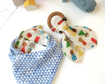 Fun Bandana Bibs, Geo Kids, Universal Unity, Little People, Cotton + Steel Unbleached Cotton, Reversible Bib, Gender Neutral