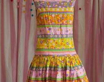 Vintage Dress - 60s Mod Neon Floral Flower Power Summer Sleeveless Drop Waist