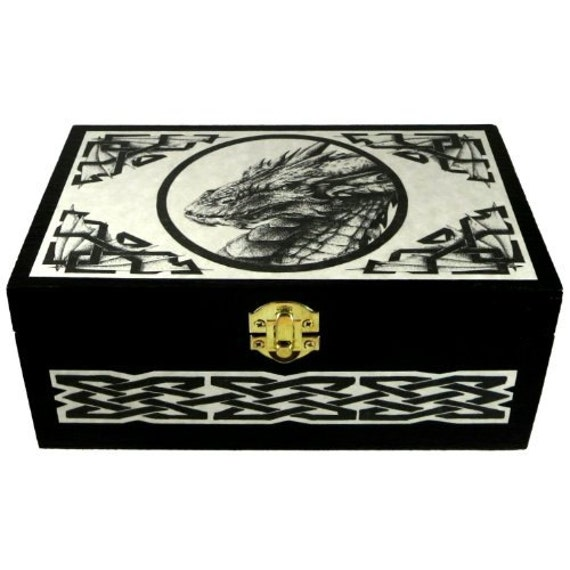 Celtic Dragon Storage Box Wooden Jewelry Ring Box Pagan