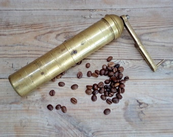 Vintage Coffee Grinder, Brass Coffee Grinder, Coffee Grinder from '60, Rustic Kitchen,Old Brass Grinder