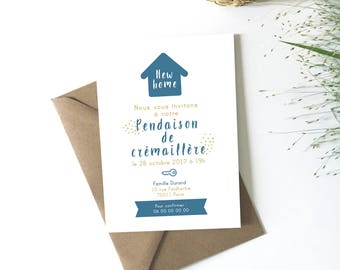 Housewarming gift, download, customize, invitation card new home announcements, moving, housewarming gift, blue