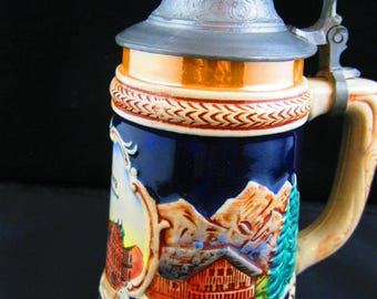 Beer Stein from Germany with pewter hinged lid