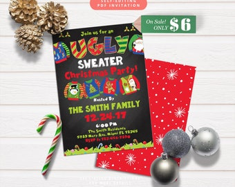 Ugly Sweater Christmas Party Invitation-Self-Editing-Christmas Sweater Party Invite-Printable Holiday Party Chalkboard Invitation-610-C