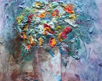 Abstract painting canvas 30 flowers bouquet of flowers painting abstract art canvas mother's day