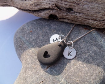 Sea glass jewelry, Personalized beach stone necklace with cut out heart and initials