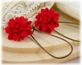 Red Dahlia Dangle Earrings -  - Silver Gold or Antique Brass Red Dahlia Drop Earrings, Red Flower Earrings
